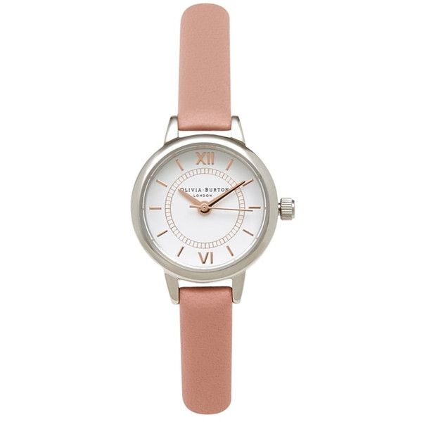 Olivia Burton Mini Wonderland Watch - Dusty Pink, Silver & Gold ($87) ❤ liked on Polyvore featuring jewelry, watches, rose gold watches, gold wristwatches, gold silver watches, silver watches and gold jewelry