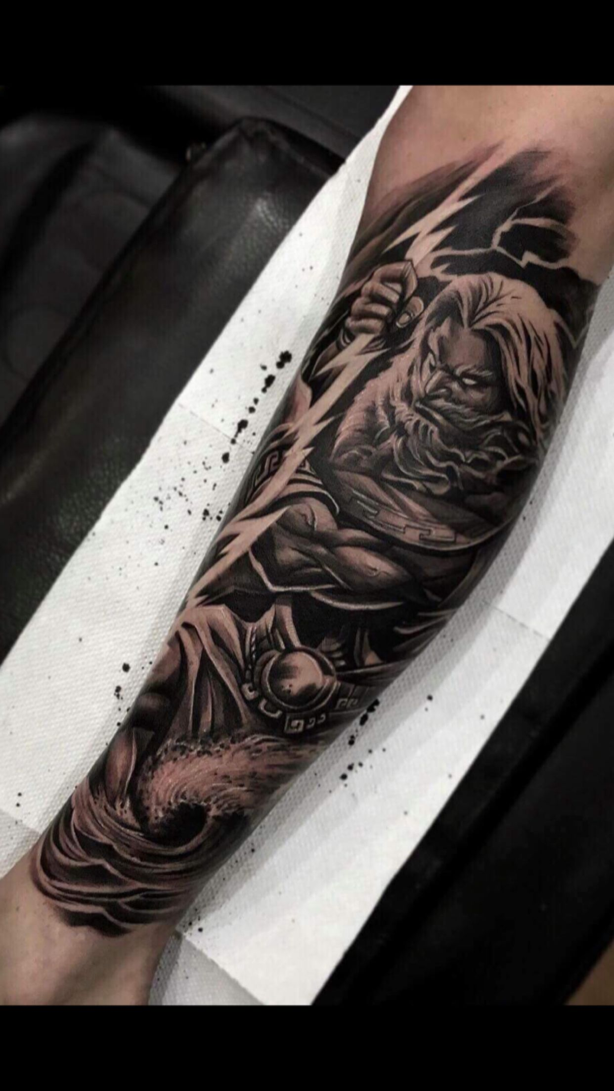 Zeus Tattoo Done By Dodepras Lion Ink Zeus Tattoo Projects To
