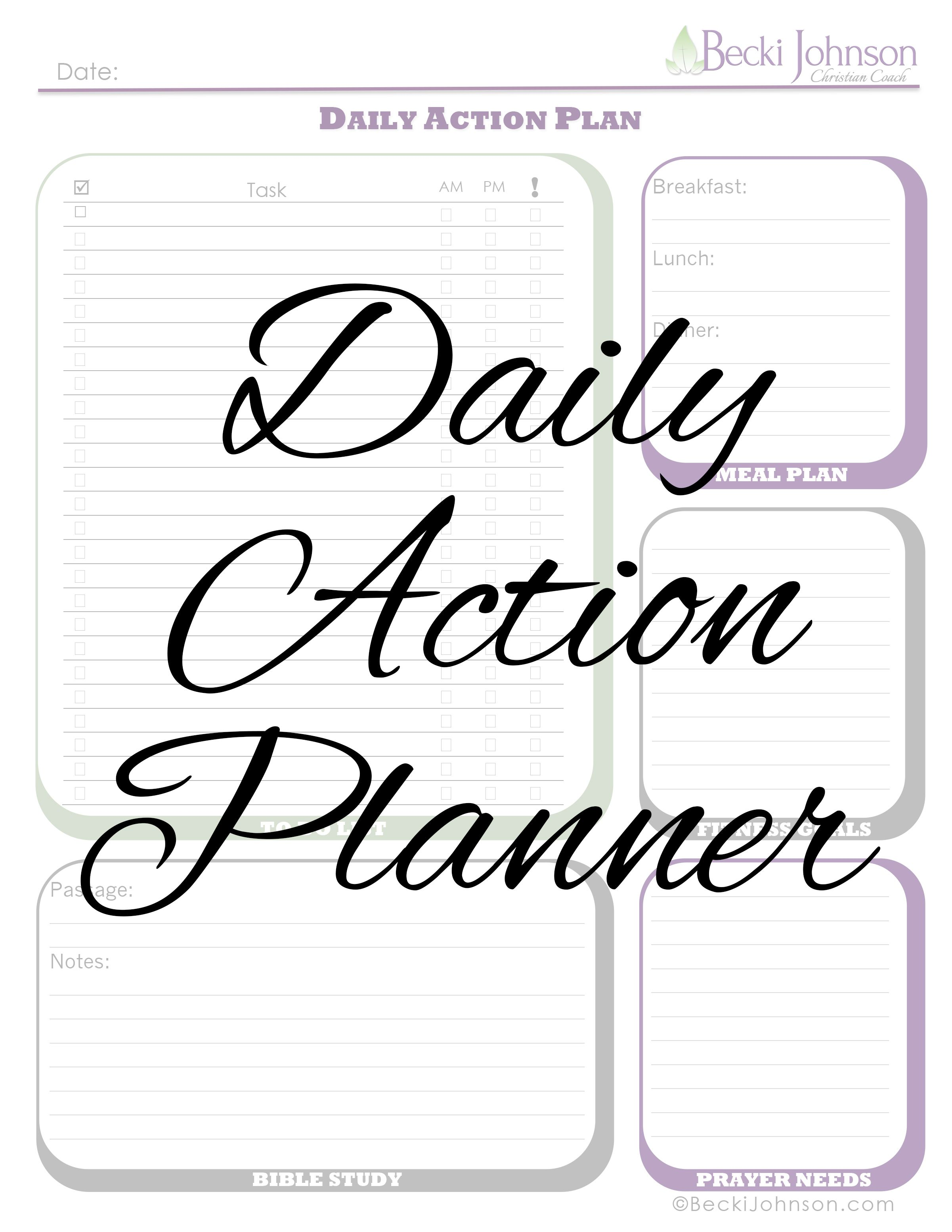 Free Download Daily Action Planner Worksheet Includes