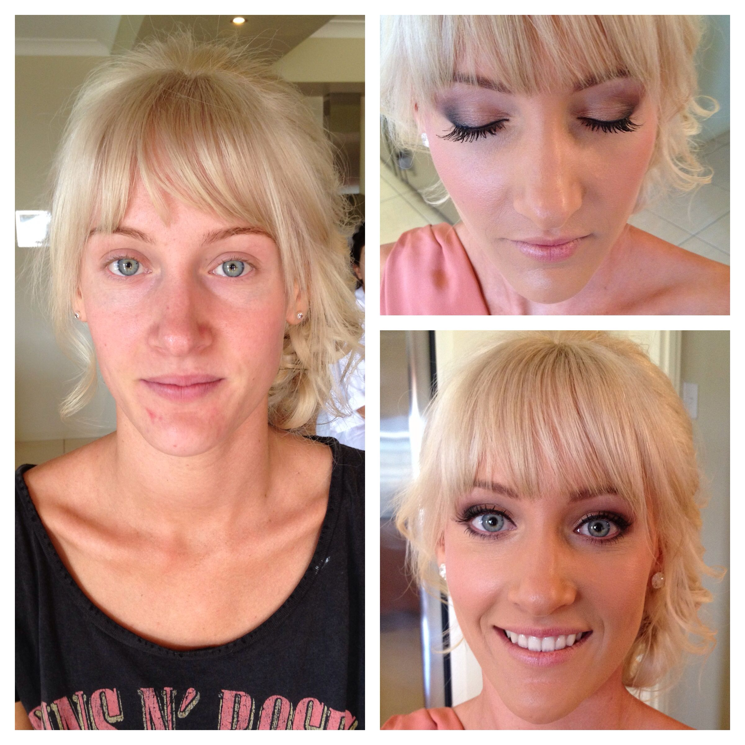 Before & after Hair & makeup by Harpier Mobile hair