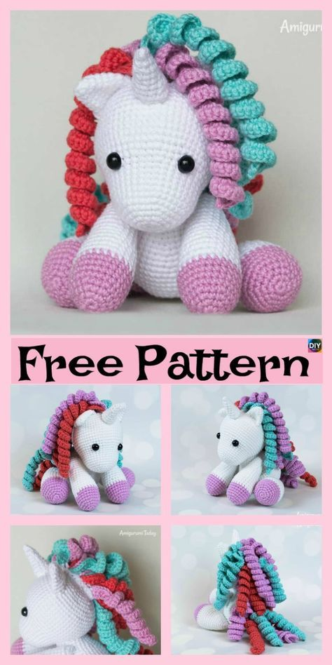 Cute Crochet Unicorn Amigurumi - Free Patterns #crochetamigurumifreepatterns