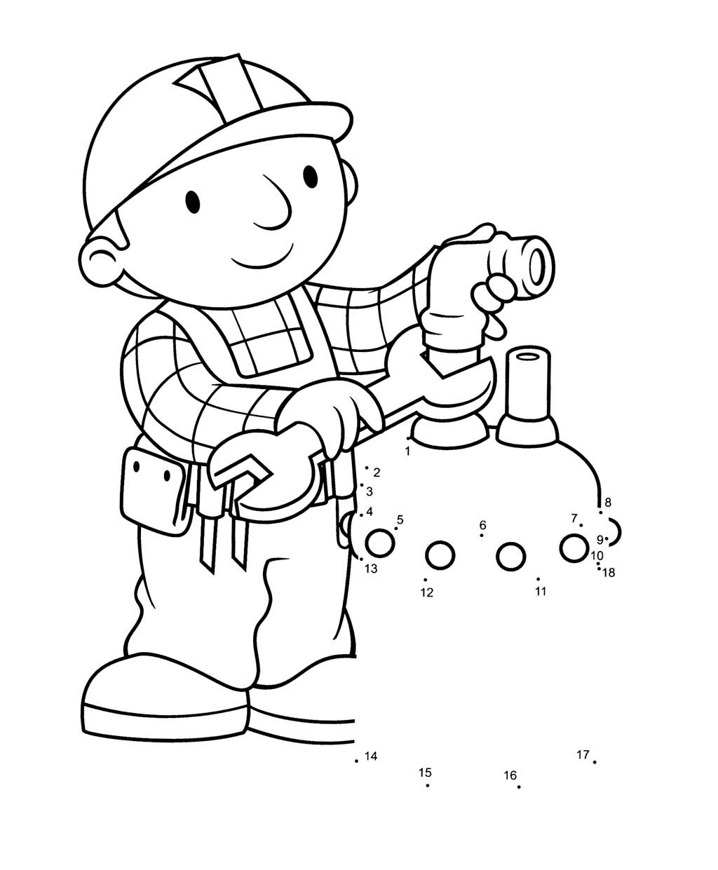 Bob The Builder Fix Tap Water Coloring Page For Kids