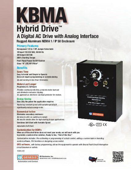 KBMA AC Drive Sales Sheet by KB Electronics, Inc.