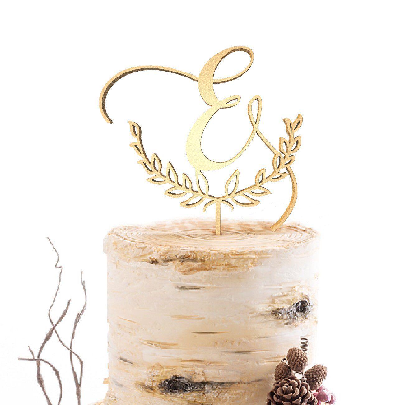 Letter monogram cake topper wedding cake topper custom