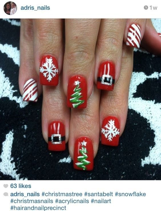Photo of Very cute nail design for christmas party   Nageldesigns.info