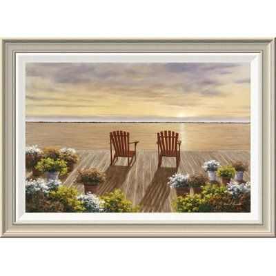 """Global Gallery 'Evening Deck View' by Diane Romanello Framed Painting Print Size: 20"""" H x 28"""" W x 1.5"""" D"""