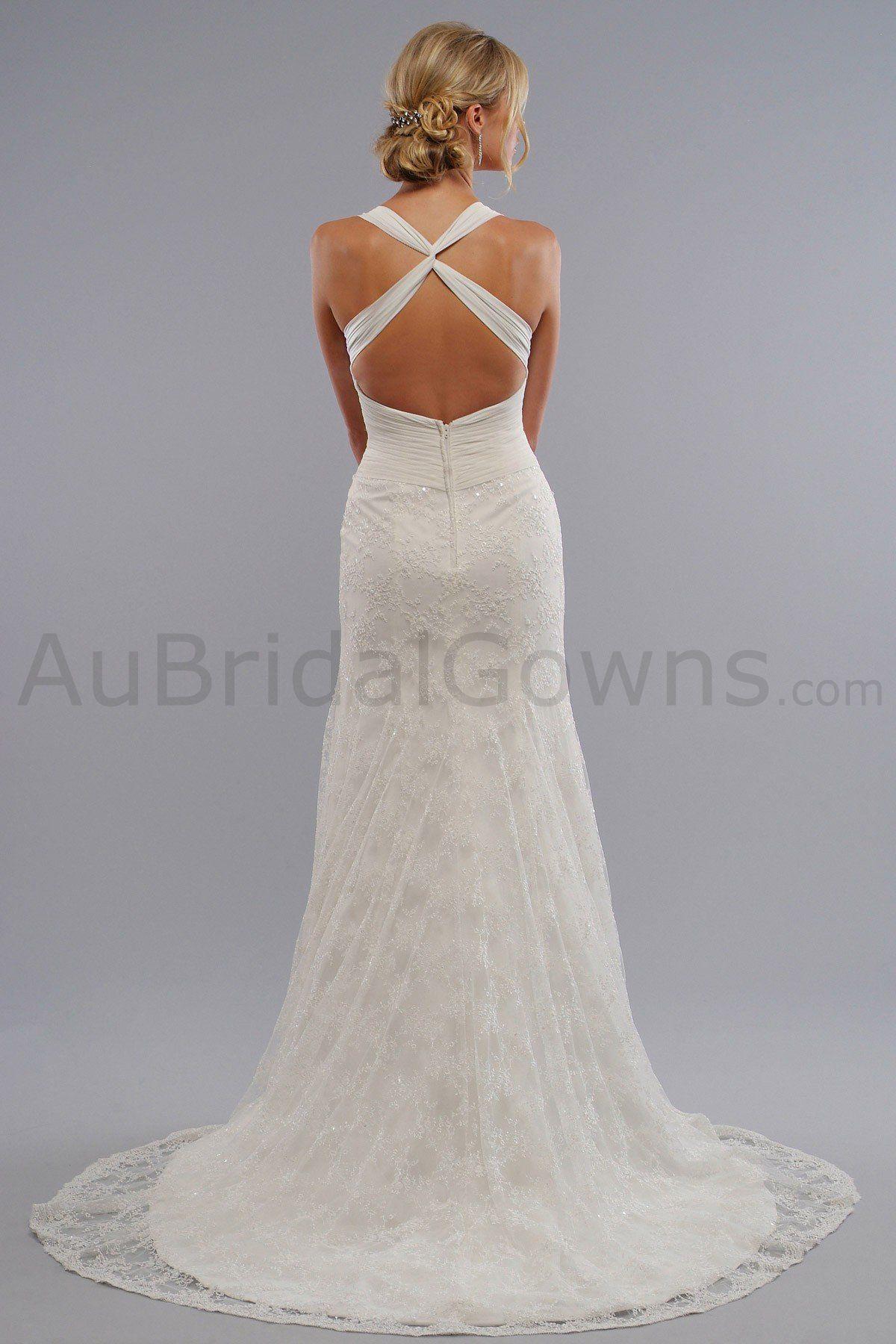 Chiffon square neckline xcross straps embroidered bodice