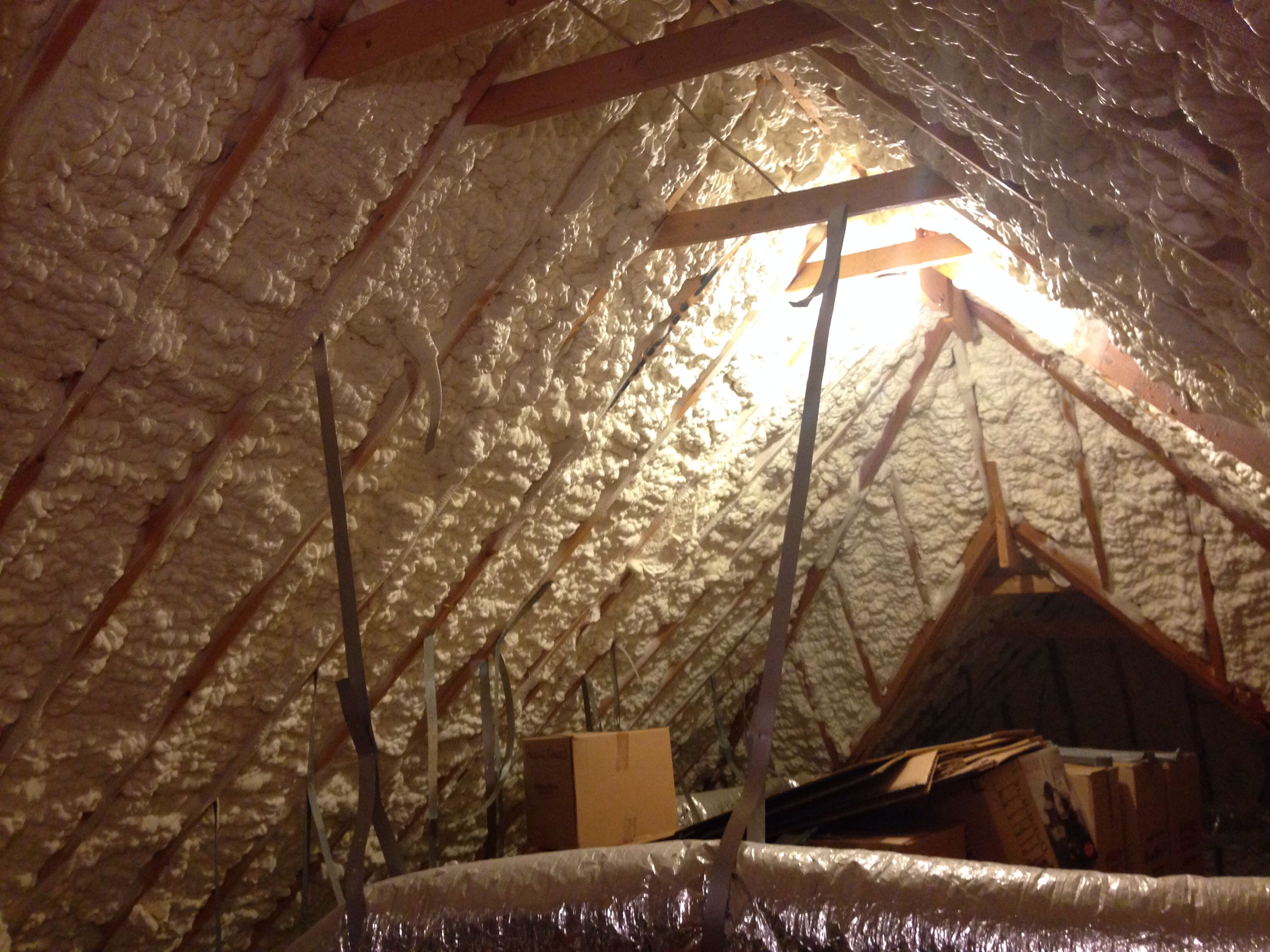 Spray Foam Insulation In Roof Deck Of Attic To Help Control Temperatures And Save On Heating And Cooling Cost Complete Attic Renovation Attic Remodel Playroom