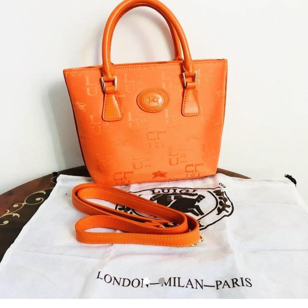6c92413bf2847f 😍😍🌈VIBRANT Orange LUIGI Leather Trimmed Monogrammed MINI TOTE Bag Grab  Bag❤️
