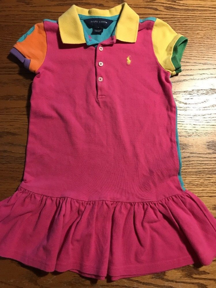 5f995d56abe Ralph Lauren Girls Size 5 Multi Color Polo Shirt Dress