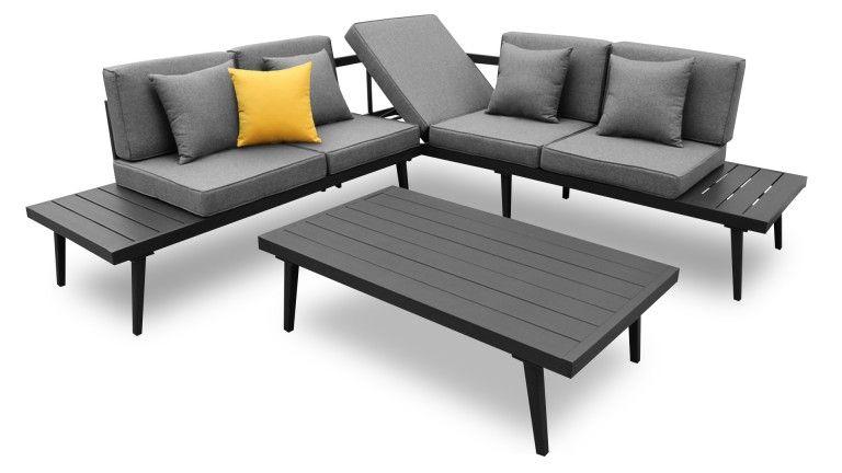 Canapé d\'angle relax de jardin + table basse aluminium ...