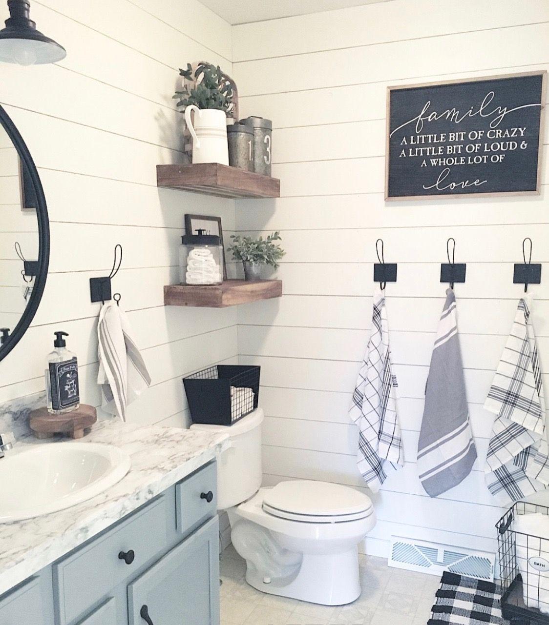 Shiplap Would Be So Cute In The Kids Bathroom Bathroom Decor Farmhouse Bathroom Decor Bathroom Makeover