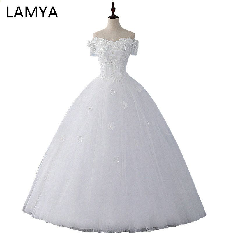LAMYA Vintage Short Appliques Ärmel Hochzeitskleid 2018 ...