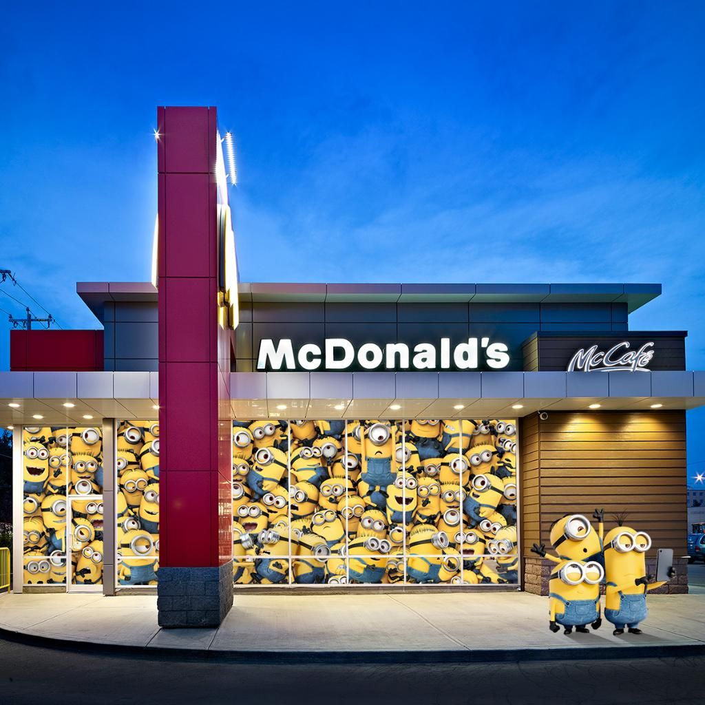 Kevin, Stuart and Bob stopped by with just a few of their fellow Minions… #MinionsAtMcDonalds