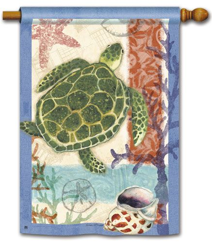 Magnet Works House Flag - Sea Turtle Decorative Flag at Garden House Flags at GardenHouseFlags
