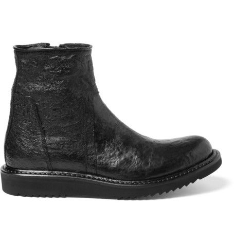 Rick Owens Textured-Leather Boots   MR PORTER