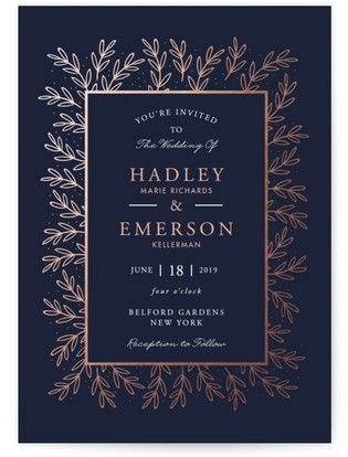 Gilded Evergreen Foil-Pressed Wedding Invitations - Blue Wedding Invitations #rusticweddings #rusticweddinginvitations #rusticweddinginspiration #botanicalweddinginvitations