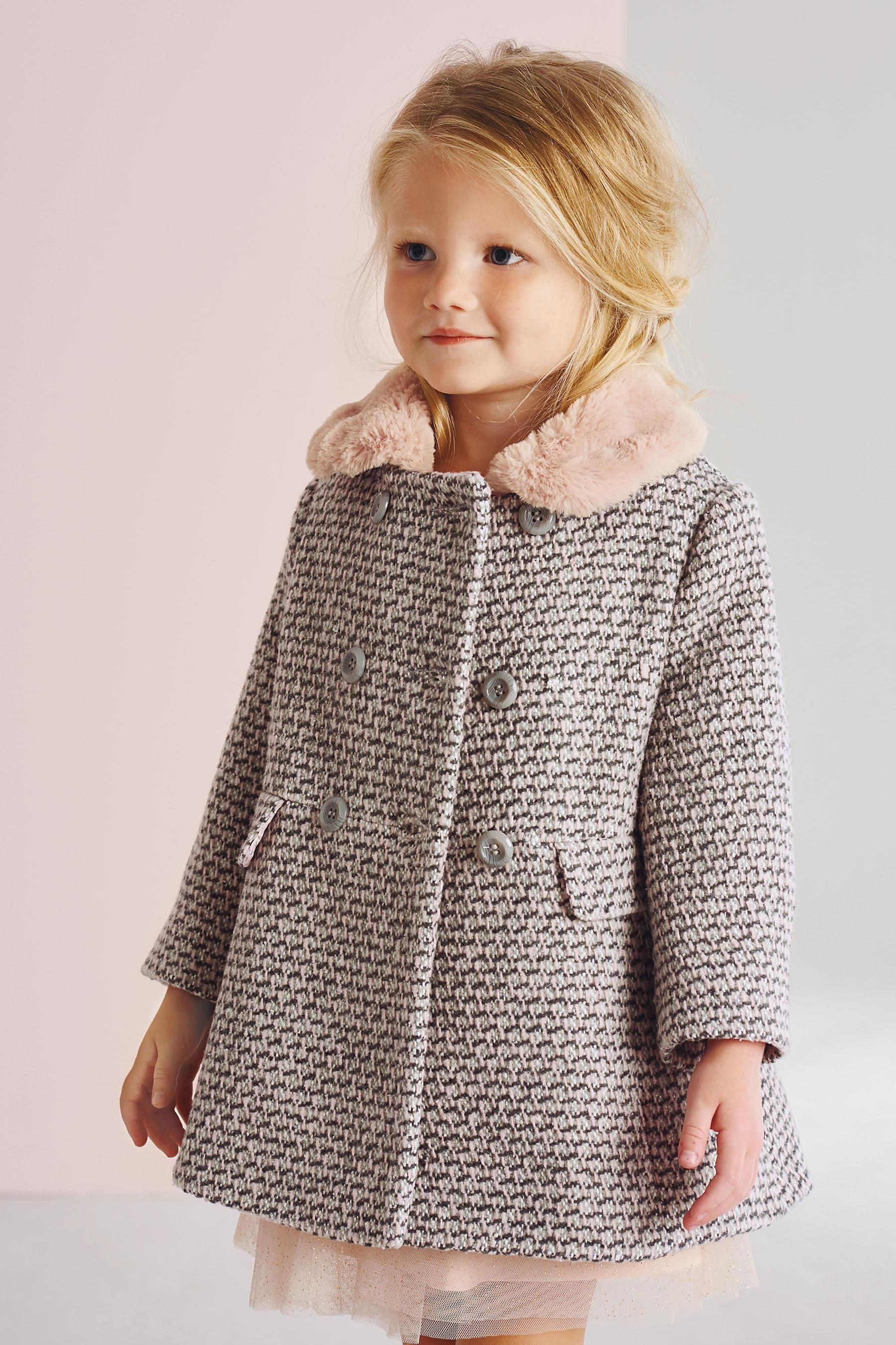 798f2baf2dd1 Buy Pink Faux Fur Collar Coat (12mths-6yrs) from the Next UK online ...