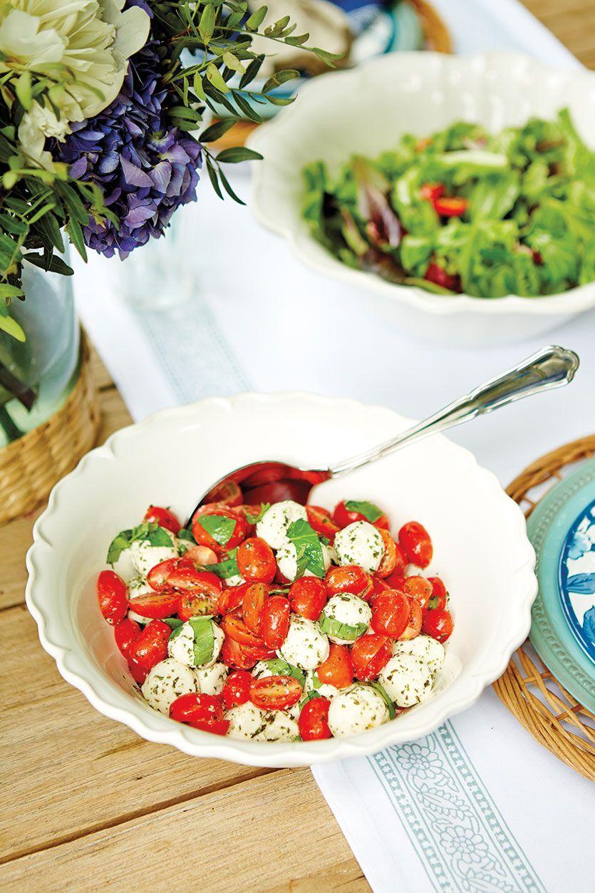 Pretty Cherry Tomato, Basil, and Mozzarella Ball Caprese Salad