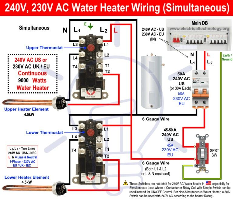 How To Wire 240v 230v Simultaneous Water Heater Thermostat Water Heater Thermostat Heater Thermostat Thermostat Wiring