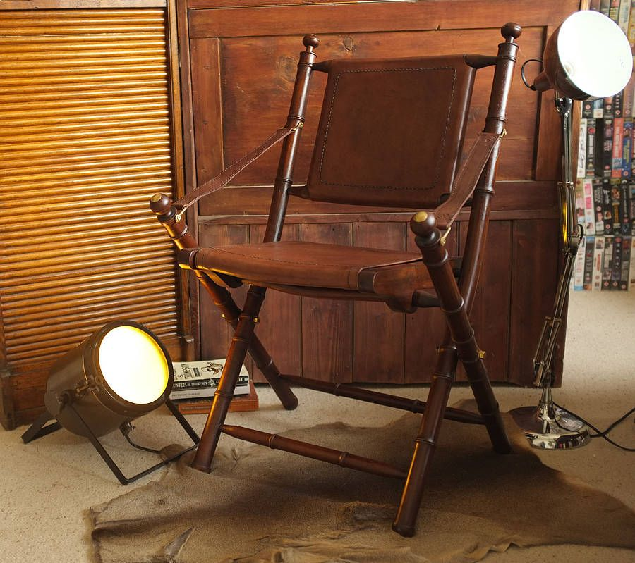 Colonial Cowhide Leather And Teak Study Chair