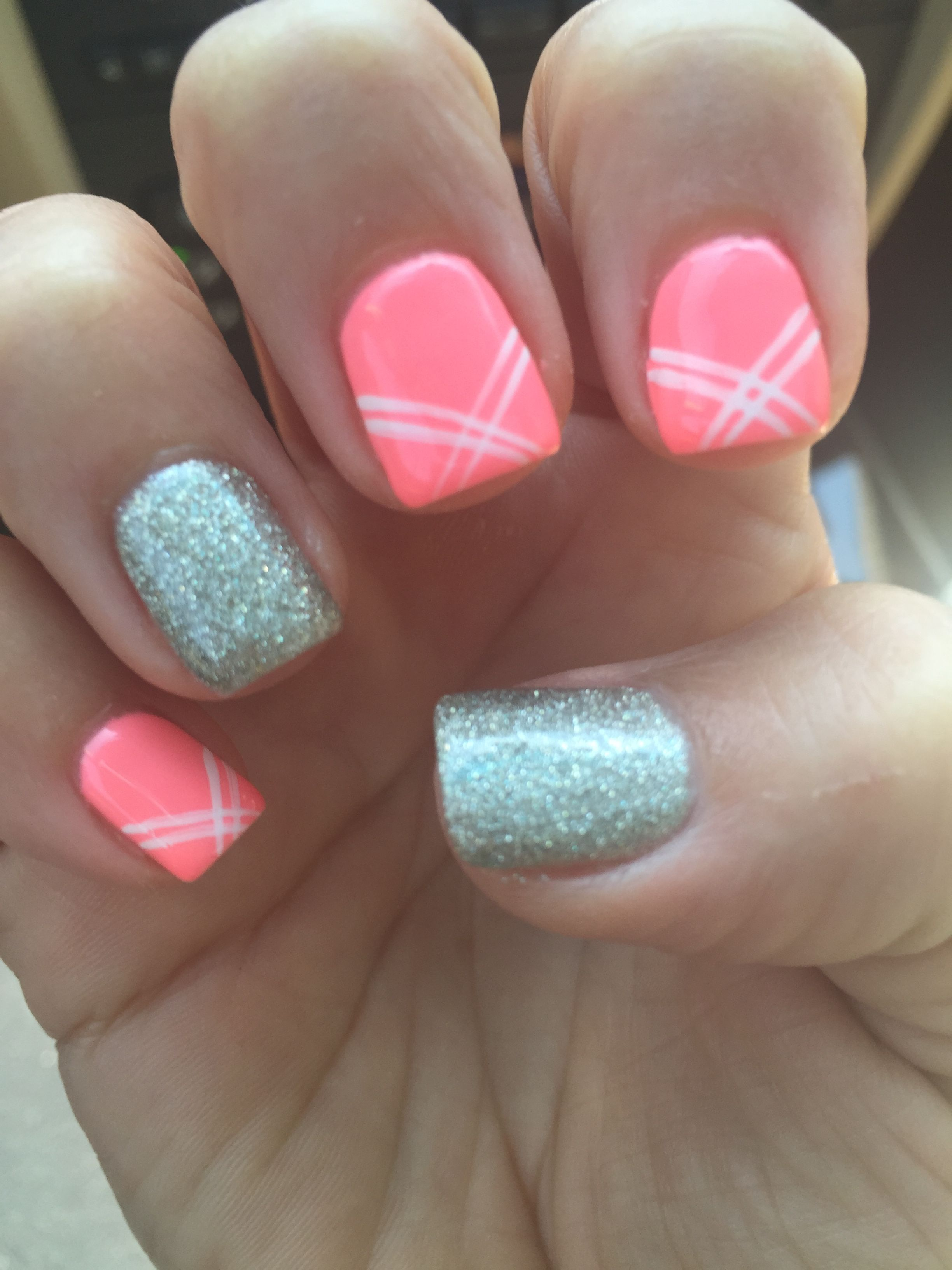 Spring nails pink shellac glitter design   Nails by Ali ☺   Pinterest
