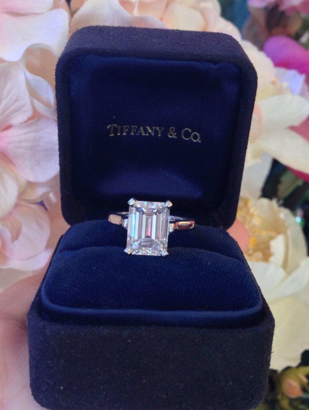 Tiffany Co   Ct Gia Vs G Emerald Cut Platinum Diamond Engagement Ring  C B Ebay