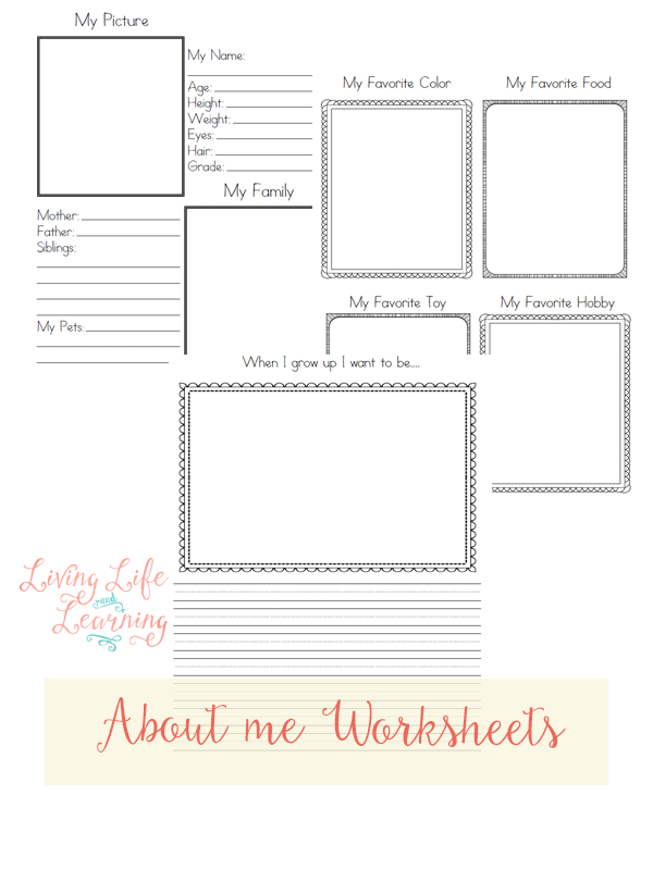 Free About Me Worksheets | Worksheets, Homeschool and Free
