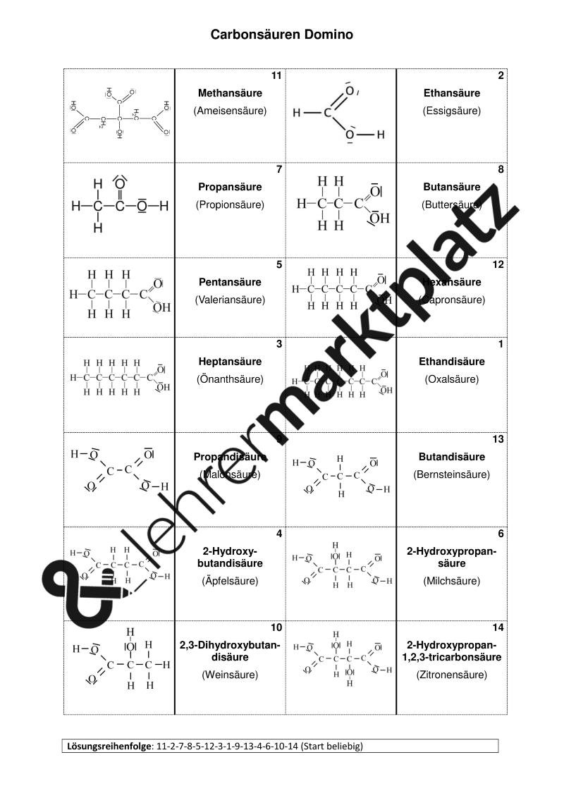 Carbonsäure Domino Word Datei – Chemie | Pinterest ...