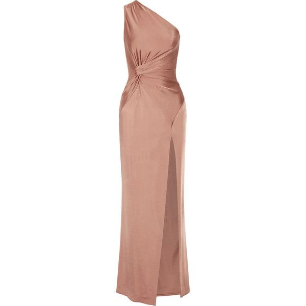 Cushnie et Ochs Denise one-shoulder stretch-satin gown ($1,980) ❤ liked on Polyvore featuring blue and cushnie et ochs