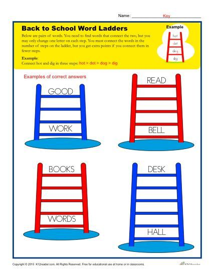 Back To School Word Ladder Worksheet For Elementary School Home