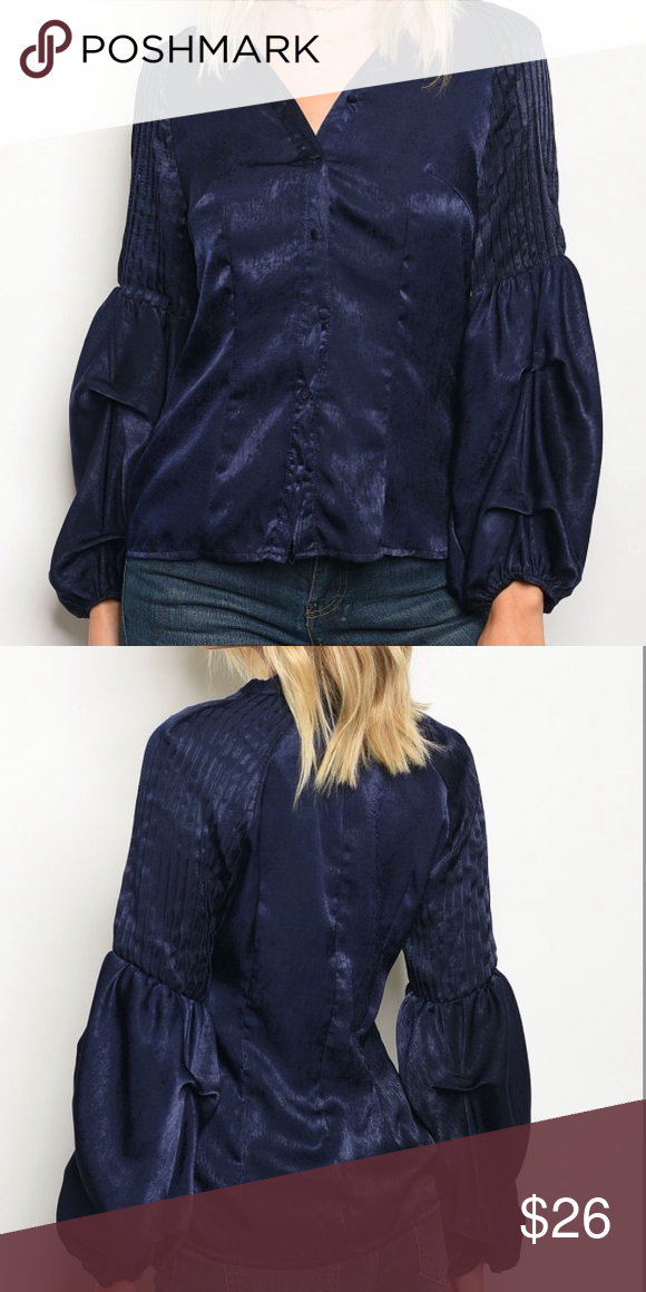 f9ba54983 Boutique Navy Blue Puffer Long Sleeve Top NEW Boutique Navy Blue ...