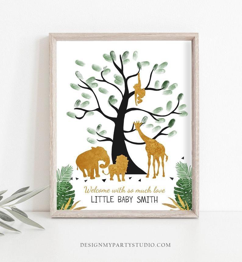 Editable Safari Animals Baby Shower Fingerprint Guestbook Thumbprint Guest Book Tree Jungle Wild One Gold Boy Corjl Template Printable 0016