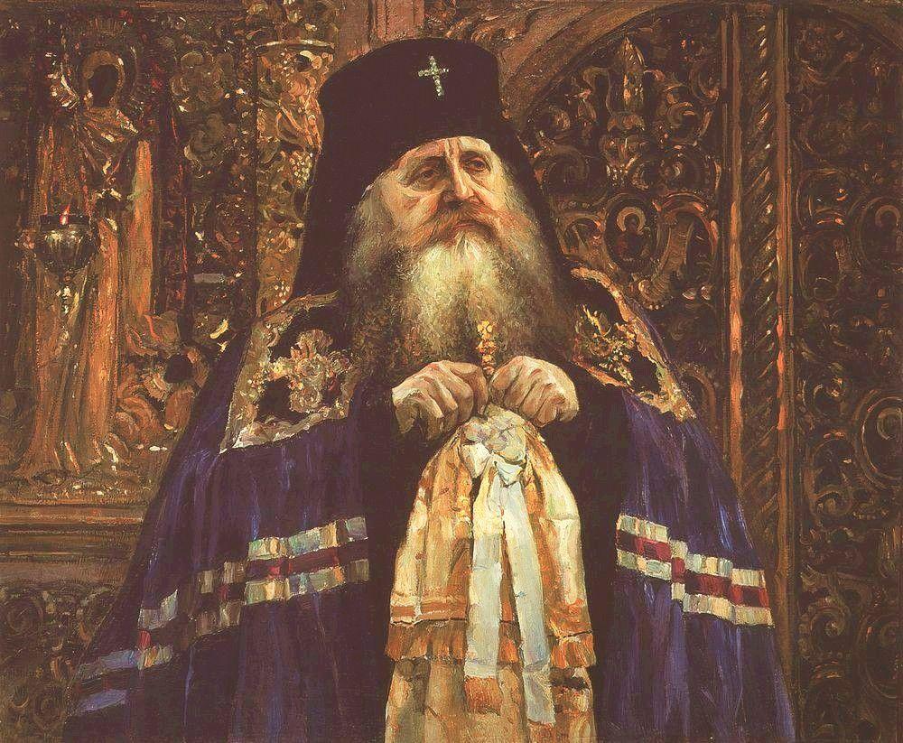 A Portrait of Archbishop Antony Khrapovitsky of Volyn by Mikhail  Vasilyevich Nesterov