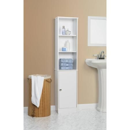 Mainstays Linen Tower White Walmart Com White Bathroom