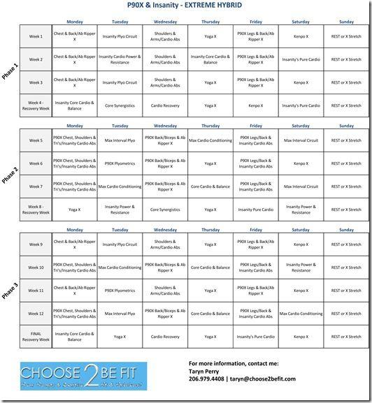 P90X & Insanity Hybrid | hybid | Insanity workout schedule