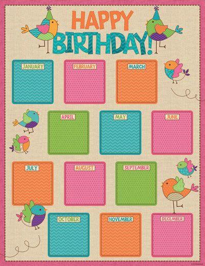 Classroom Decoration Happy Birthday : Bebop birdie birthday chart first grade pinterest