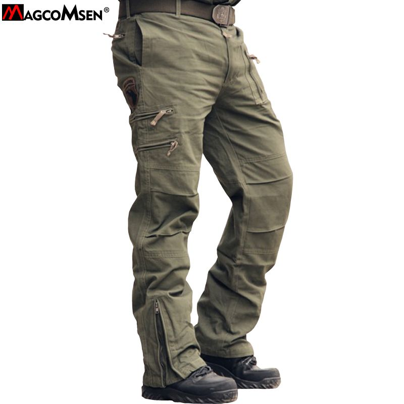Mens Cotton Windproof Army Travel Tactical Work Pants Pocket Cargo Trousers