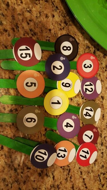 Easy Billiards Cupcake Toppers Print Out Billiards Balls Glue To