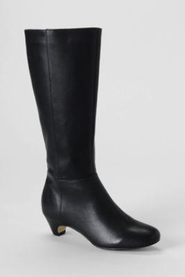 Women S Emory Low Heel Tall Boots From Lands End Boots Heels Black Heels Low