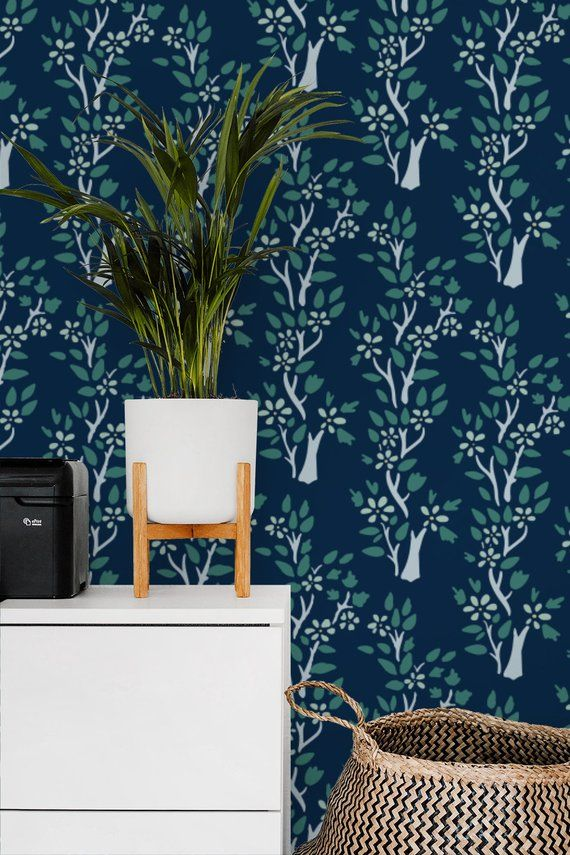 Green Leaf Trees on Navy removable wallpaper / Enchanted