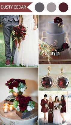 2016 trending deep red marsala and gray fall wedding color ideas ...