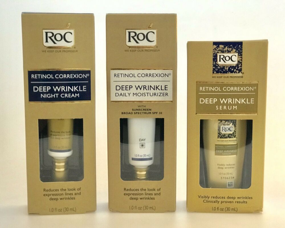 Best Wrinkle Cream 2020 3 RoC Retinol Correxion Items Deep Wrinkle Day + Night + Serum