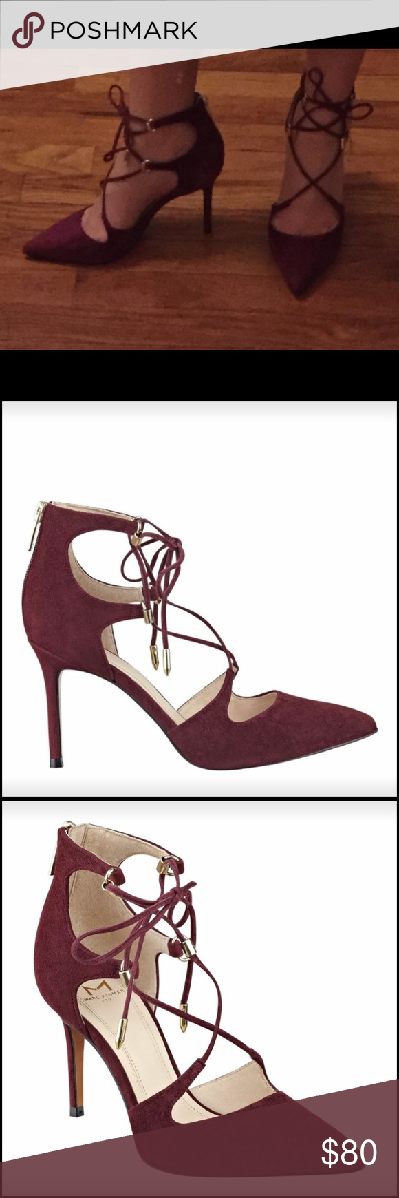 """Toni Lace Up Pointy Toe Pump (Burgundy Suede) Toni Lace Up Pointy Toe Pump by Marc Fisher in Burgundy Suede, SIZE 7M have never been worn. I bought them as potential wedding shoes but the color is not right - they are really pretty shoes though. ORIGINAL packaging NEVER been worn. Origin: Imported Heel Height: 3.5"""" Upper: Leather Lining: Leather Outsole: Manmade Read Less Marc Fisher Shoes Heels"""