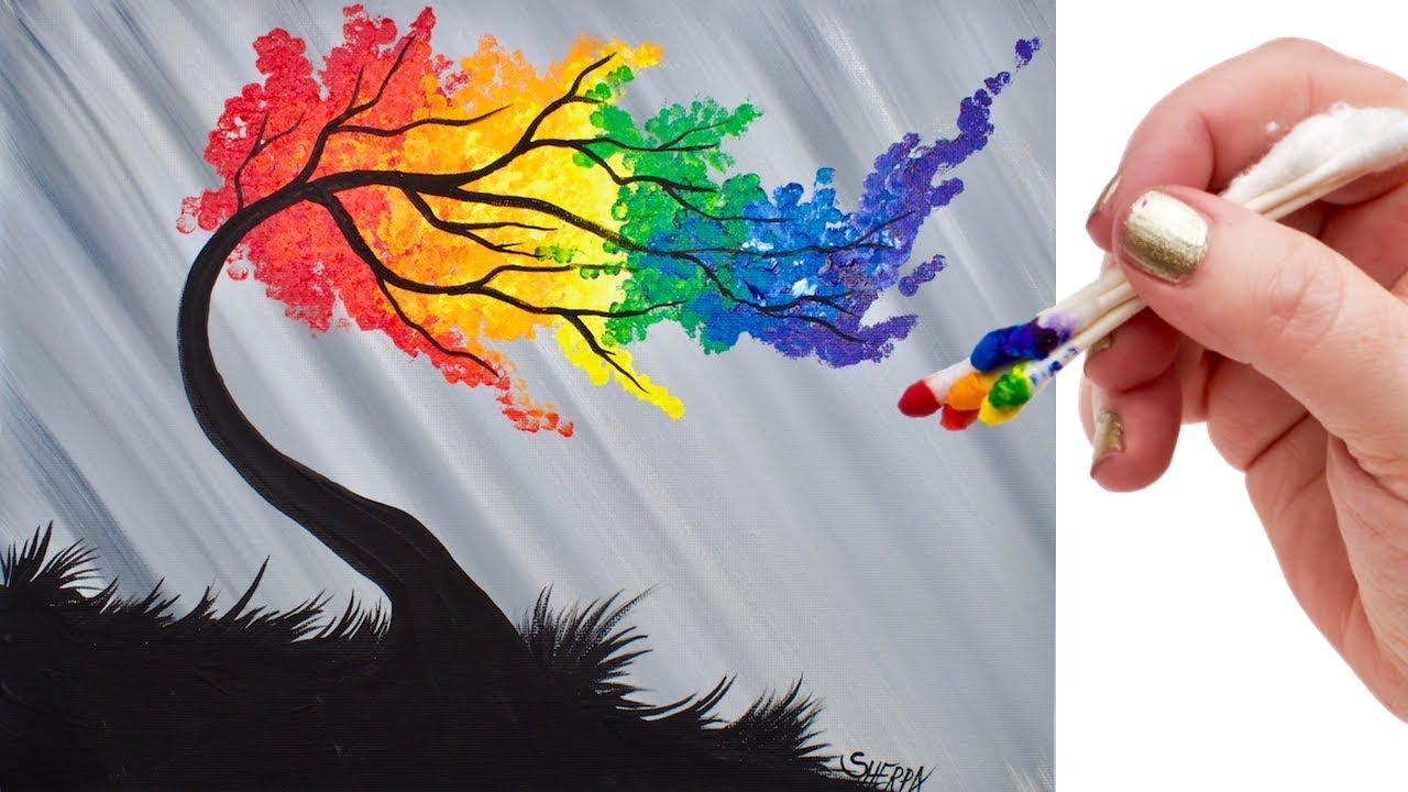 Rainbow Willow Tree Q Tip Acrylic Painting for Beginners tutorial