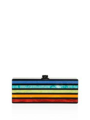 EDIE PARKER Flavia Striped Acrylic Clutch. #edieparker #bags #clutch #hand bags #