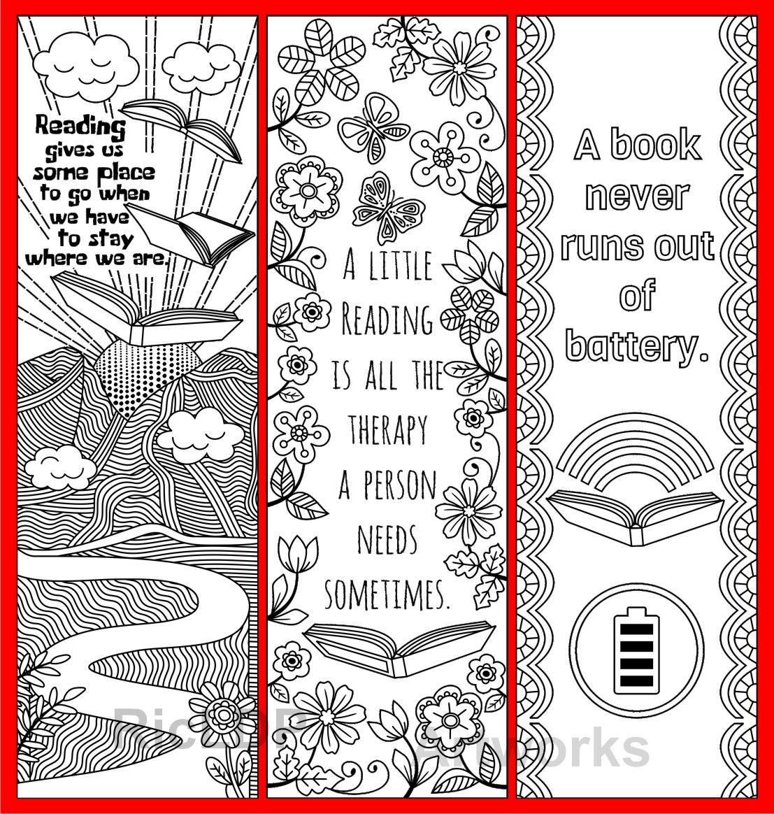 8 Coloring Bookmarks with Quotes on Books and Reading; Printable ...