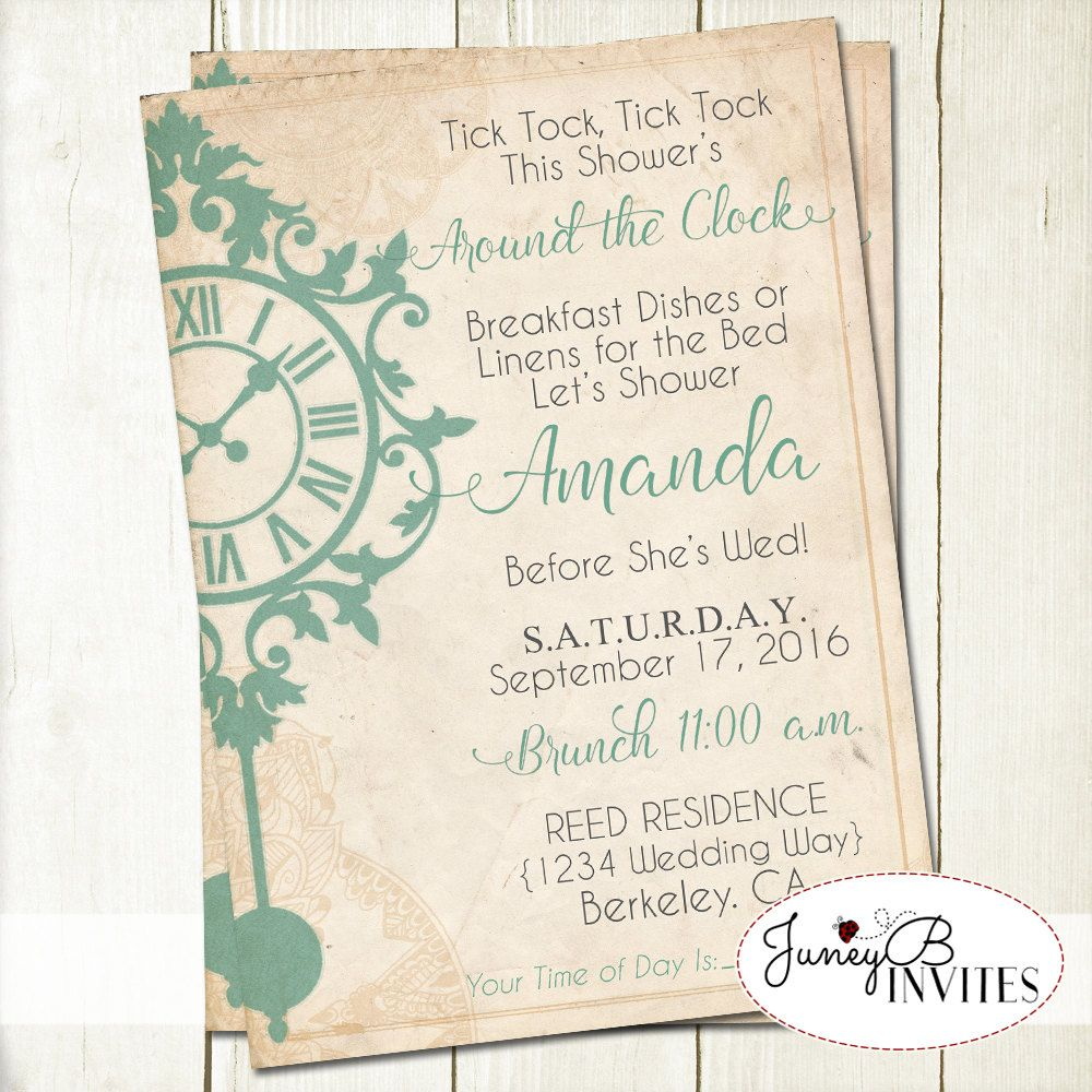 Vintage Around the Clock Bridal Shower Invitation Invite your guests ...