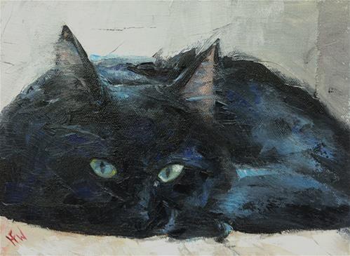 Daily Paintworks Green Eyes Original Fine Art For Sale C H F Wallen Art Animalier Chat Noir Art