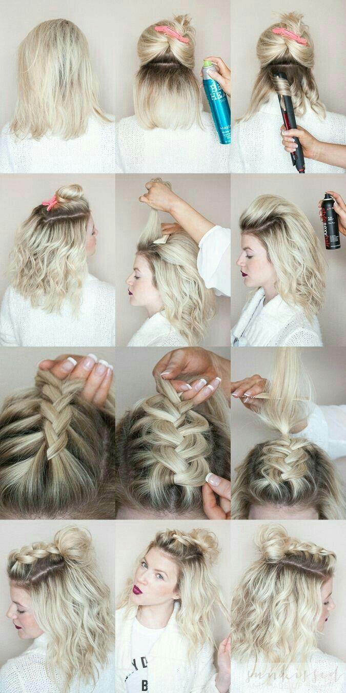 Trenza Con Chongo Cabello Corto Bob Hair Pinterest Hair